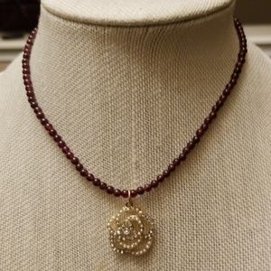 Vintage Genuine Garnet Necklace with a Pendant
